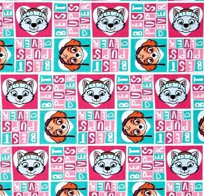 Paw Patrol Best Pups Ever Fabric  * Pink/Blue * In Stock * Free Post *