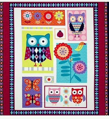 Wings-N-Things Owl Quilt Panel...*New*...In Stock....free Post....