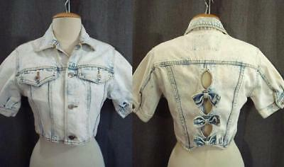 VTG 80s ACID WASH Denim CUTOUT BOW BACK 1980s CROPPED Puff Slv JEAN JACKET XS/S