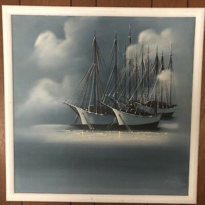 """Signed """"MaTson""""  1930-1985 Oil Canvas Painting of Sail Ship American"""