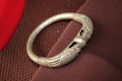 Tribal exotic chinese handmade miao silver Dragon bracelet EH040