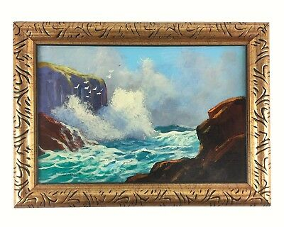 """Original Val McGann Seascape Painting Incoming Tide Maine 6"""" x 4"""" Signed"""