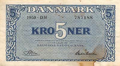 Denmark  5  Kroner  1950   Series  DM  Circulated Banknote E518F