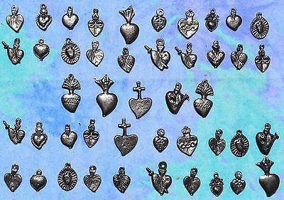 MIlagros Hearts Antiqued Silver 50 Milagro Charms Day Of Dead Exvoto