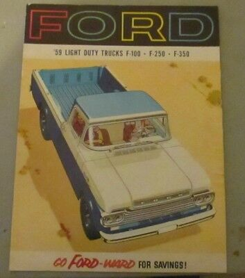 1959 Ford Light Duty Truck Sales Brochere Nicfront Cover Back Cover Some Stains
