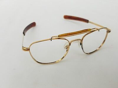 52[]20mm Vtg Randolph Engineering Gold tone Aviator Eyeglasses Tortoiseshell