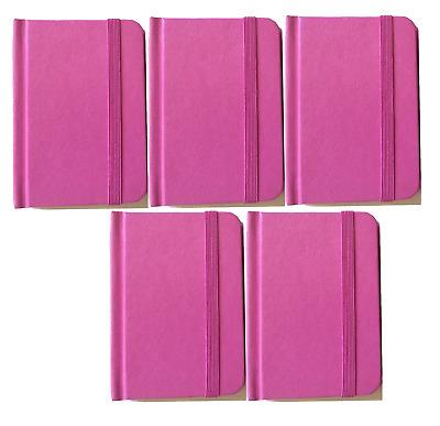 "5-pack New Small Pink Hardcover Pocket Notebook Journal 96 Pages 4.5 x 3"" Ruled"