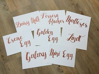 White Card Wedding Table Names Numbers Sign Vinyl Text A5 Personalised Rose Gold