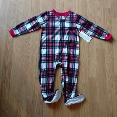 CANDLESTICKS Baby Bodysuit Sleeper 24 Months Plaid Checker Red Toddler NEW NWT