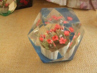 Acrylic  Paperweight FLORAL BASKET WITH FERNS.  Approximately 2  INCHES. AT BASE