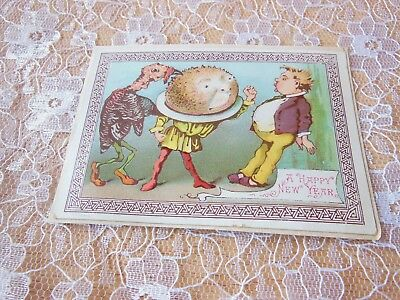 Victorian new year cardgoodallanthropomorphic turkey and christmas victorian new year cardgoodallanthropomorphic turkey and christmas pudding m4hsunfo