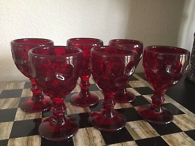 """Antique Vtg Pure Ruby Red Heavy Rich Glass Stemmed Wine / Cordial 4.75"""" Set 6"""