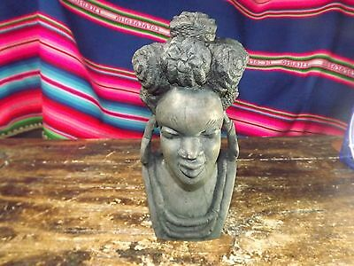 Vintage African Tribal Carved Ebony Stained Black Heavy Portrait Lady 8.5 In Tl