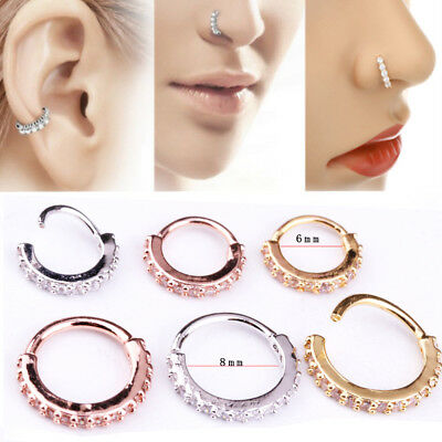 Nose Ring Hoop Rook Helix Ear Studs Cuff Cartilage Crystal Zircon Diamante 6/8mm