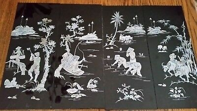 4 Panels Vietnamese Mother of Pearl Lacquer paintings- NEW