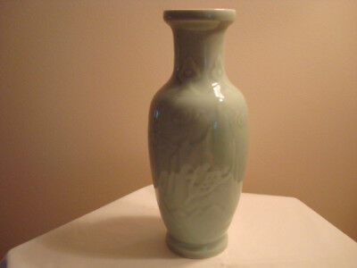 "Vintage Celadon Vase Chinese 10 1/2"" Perfect Condition Stag Plum Blossom Asian"