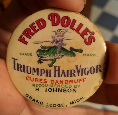 Original Fred Dolle's Triumph Hair Vigor Barbershop Celluloid Pocket Mirror Rare