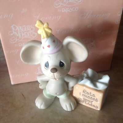 "Precious Moments Birthda Figurine ""Rats, I missed your Birthday"" 2001 with Box"