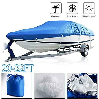 Trailerable Fish Ski Boat Cover Reflective 20-22FT Beam fit V-hull Tri-hull A8H6
