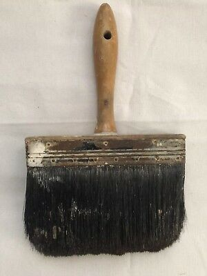 Antique Primitive Horse Hair Rare Wood Handle Paint Brush Early Shaker Large