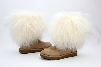 d55e16b3e46 UGG LIDA CURLY Mongolian Sheepskin Suede Naural Boot With The Fur! Size 5 Us
