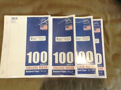 Filler Paper, College Ruled, Loose Leaf Paper, 4@100 Sheets/Pks, Back 2 School