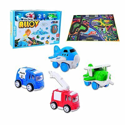 CARLORBO 4 Play Vehicles with Large Playmat Set - Die-Cast Pull Back and Powered