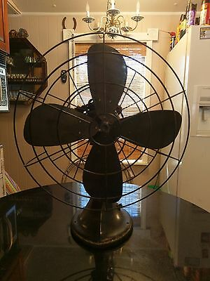 "Antique Hunter-Robbins & Myers 16"" 3 Speed Oscillating Fan US Gov Issue"