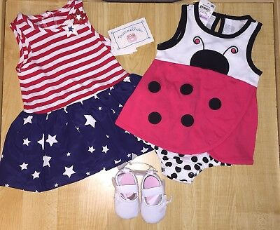 New Girl's 6 9 Month Lot Ladybug And American Dress & Creeper White Shoes