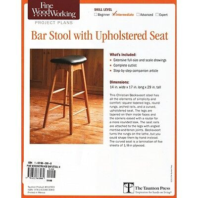 Fine Woodworking Project Plan Book/Drawings for Bar Stool with Upholstered Seat