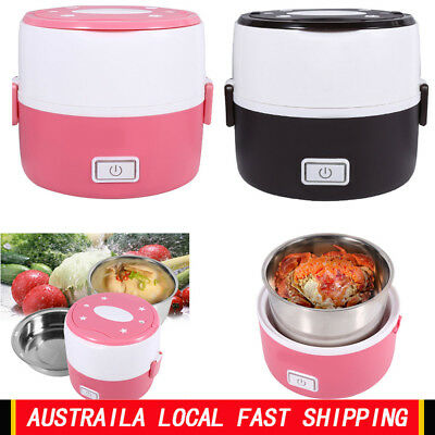 220V 2-Layer Portable Electric Lunch Box Stainless Steel Food Container Warmer h