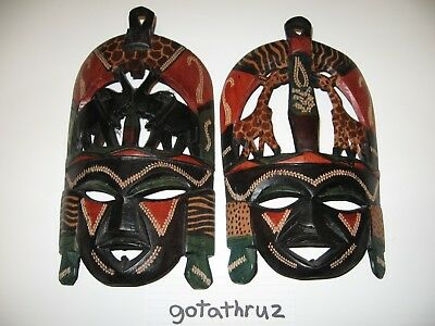 Wooden Mask African Carved Hand Vintage Tribal Wall Art Large Decor Wall Art wFS