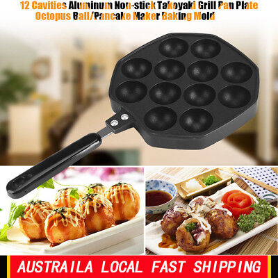 12 Cavities Takoyaki Pan Japanese Octopus Cake Waffles Maker Snacks Bake Mold