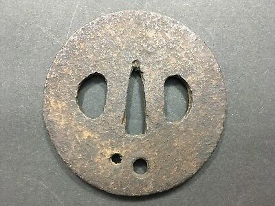 [a004] TSUBA katana Two holes The surface is rough 73.3x74.5 140g VG