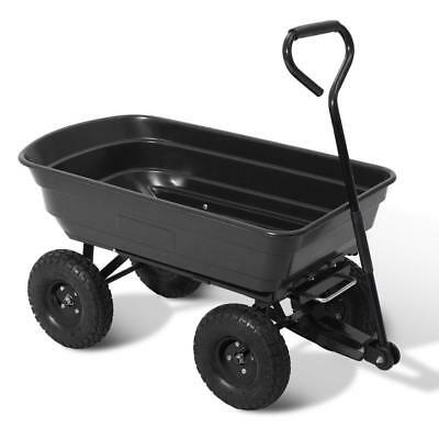 Black Pull Dump Cart 270kg Garden Hand Trailer Wagon Lawn Wheelbarrow