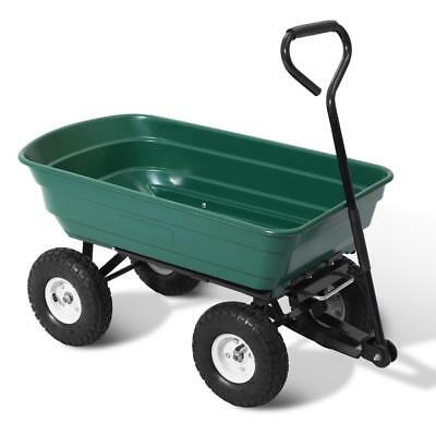 Green Pull Dump Cart 270kg Garden Hand Trailer Wagon Lawn Wheelbarrow
