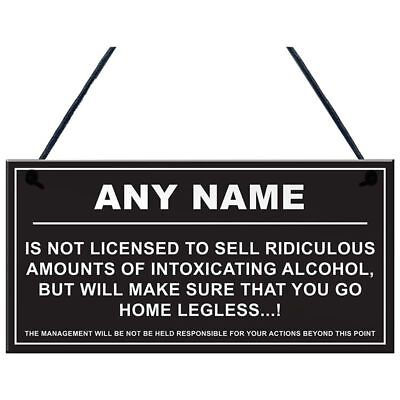 Personalised Man Cave Sign Home Shed Pub Bar Licensee Funny Alcohol License J5P0