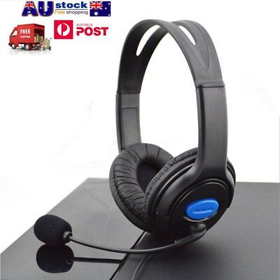 Deluxe Black Headset Headphone With Mic Volume Control For Ps4 Laptop 7P