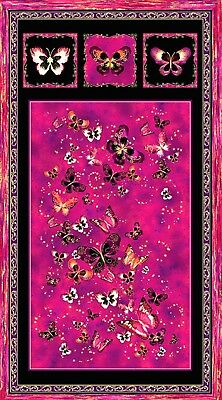 Butterfly Jewel Quilt Panel * Summer Swirl * Magenta * New * Free Post *