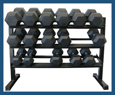 3-Tiers Horizontal Pro Dumbbell Storage Rack - suits Rubber Hex, Cast, Pro Style