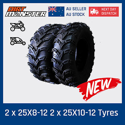 2*25X8-12 + 2*25X10-12 6PLY ATV UTV Tire Tyre 4 Polaris Sportsman 700 4x4 Quad