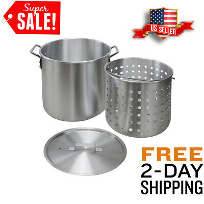 60 Qt. Aluminum Stock Pot Strainer Basket Sturdy Heavy Duty Outdoor Cooking Equi