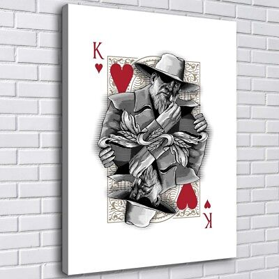 Poker Heart King Home Decor Room HD Canvas Print Picture Wall Art Painting 4764