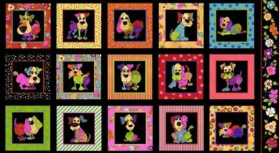 Dog Happy Quilt Panel * Puppy Frames * Loralie Designs * New * Free Post *