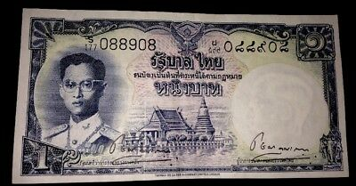 Thailand Early 1 One Baht Banknote Very Rare S Series Same Signature Twice.