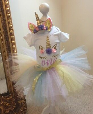 Baby Girls 1st First Birthday Cake Smash Tutu Top Purple Unicorn Handmade Outfit
