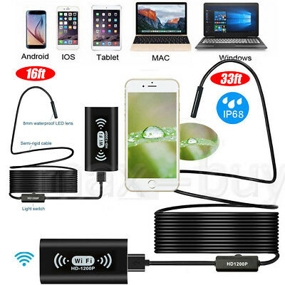 16/33ft 1200P Rigid Wifi Endoscope Camera HD 8mm Borescope for Android iPhone OS