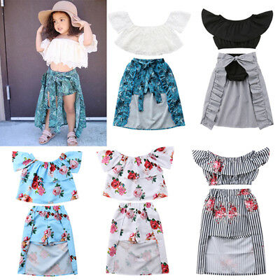 US Fashion Girl Baby Kid Off-shoulder Top Peacock Short Pant Dress Party Outfits