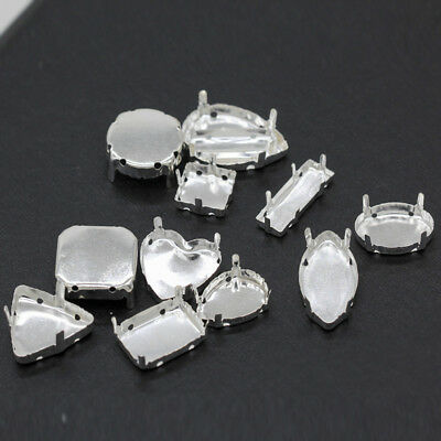30p Crystal Rhinestone Blank Claw Silver Plated Setting For Sew On Various Shape