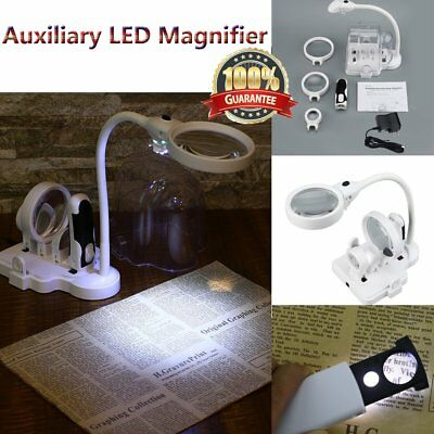 Large Lens Lighted Lamp Desk Magnifier Magnifying Glass with Clamp LED Light 6P